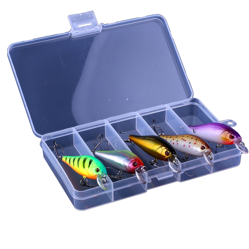 5PCS Set Boutique Minow Fly Fishing Bait with Bait Box Pesca Pech minow family matters cloth