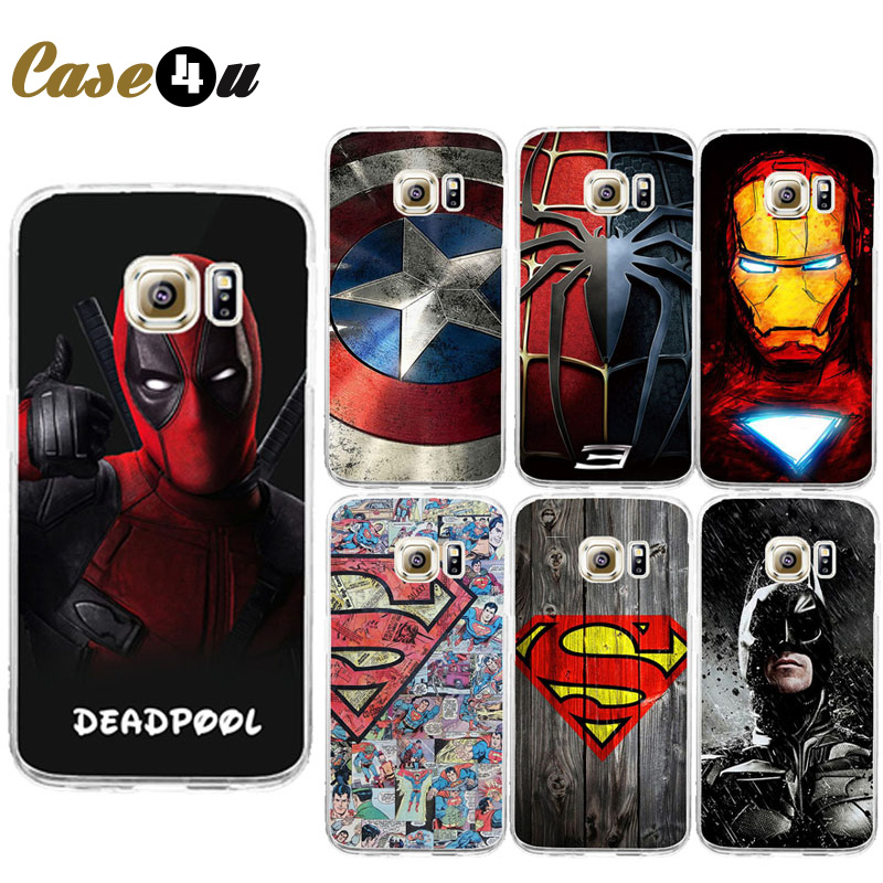 HOT NEW Marvel Avengers Captain America Shield Iron man Hard Case Cover for SamSung S6 S7 Spiderman Deadpool Painted Pattern