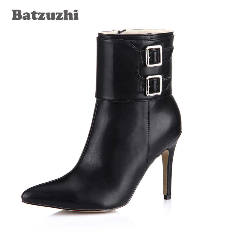 Batzuzhi-9.7cm Handmade Women Shoes Pointed Toe Black Soft Leather Ankle Boots Ladies Zip Winter Antumn Women Boots, Big Size 43 batzuzhi 2018 handmade women shoes pointed toe 12cm long boots ladies white knee high party botas mujer winter big size 43