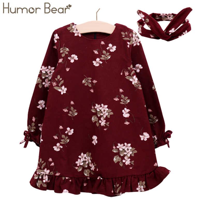 Humor Bear/платье для девочек фирменное платье принцессы осень Eruopean и американский стильная повязка на голову Платье для малышей для детская одежда