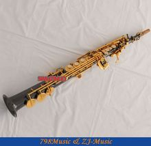 Professional  Black Nickel Soprano Saxophone High F# Sax 2 Neck New Case