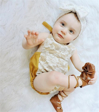 Newborn Baby Girls Rompers Lace Floral Body Jumpsuit+Headband