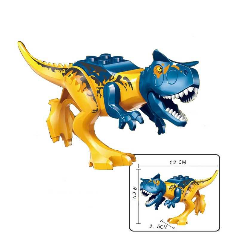 Legoing บล็อกไดโนเสาร์ Tyrannosaurus Rex Wyvern Velociraptor Stegosaurus บล็อกอาคารของเล่นเด็กไดโนเสาร์ตัวเลข
