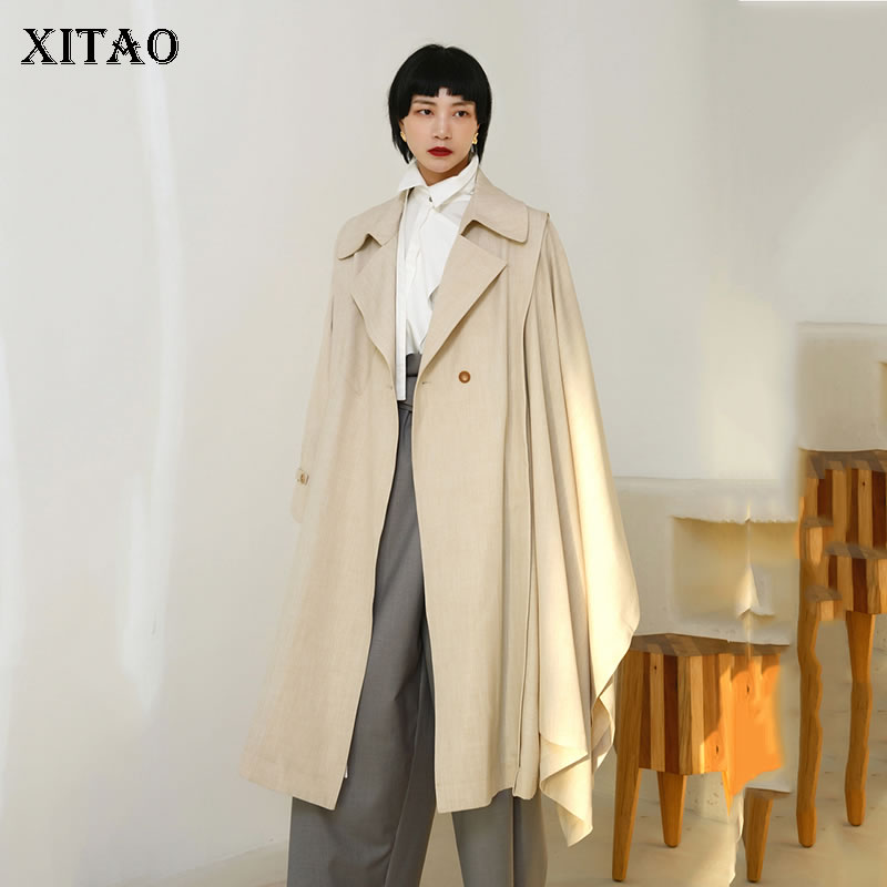 [XITAO] Spring Summer 2019 Women Casual Loose Fashion Turn-down Sleeve Single Button Solid Color Match All Long   Trench   WBB3171