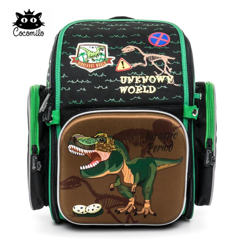 aaa6a34db5d7 Cocomilo 2018 мультфильм ортопедический школьный рюкзак для мальчиков  девочек динозавр шаблон рюкзаки школьные сумки Mochila Infantil