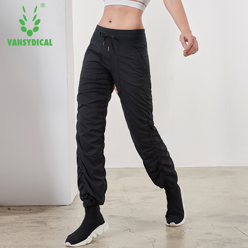 SPT Vansydical Sports Running Yoga Pants Women's Slim Fold Gym Sweatpants Autumn Winter Outdoor Fitness Workout Jogging Trousers