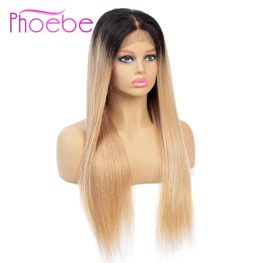 Phoebe 1b/27-Wigs Closure Brazilian-Wigs Lace Straight Women 100%Human-Hair 4x4 For Remy-Hair