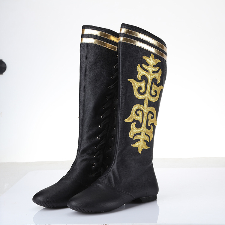 Factory Wholesale Mongolian Dance Boots Riding Boots Side Flower Wear-resistant Leather National Performance Show Tibetan BootsFactory Wholesale Mongolian Dance Boots Riding Boots Side Flower Wear-resistant Leather National Performance Show Tibetan Boots