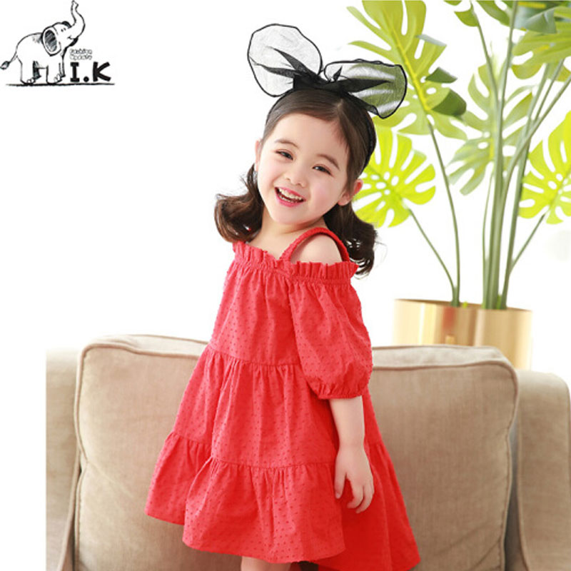 Children Girls Summer Dress Solid Shoulderless Sweet Dresses For Baby Girls Knee Length Red Kids A Line Cotton Clothing QZ26020