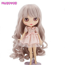 Heat Resistant Synthetic Fiber Taro Milk Long Curly Wig Hair with Bangs for Blyth Dolls MUZIWIG bouffant curly capless fashion heat resistant fiber chignons for women