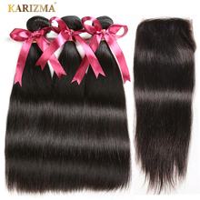 Karizma Brasilian Straight Hair Bundles With Closure Natural Color 4 stk / lot Human Hair Weave 3 Bundler Med Closure Non Remy