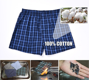 Image 5 - Underwear Men Boxer Plaid Underpants Cotton Shorts Men Striped Panties Loose High Quality Russian Size Breathable Dropshipping