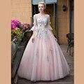 2017 Floral Vestido De Baile Quinceanera Vestidos Colher Três Quartos Mangas Apliques de Flores de Tule Vestidos de Baile Até O Chão
