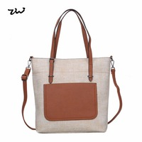 HEC New Products On China Market Large Beige Leather Women Shoulder Bag