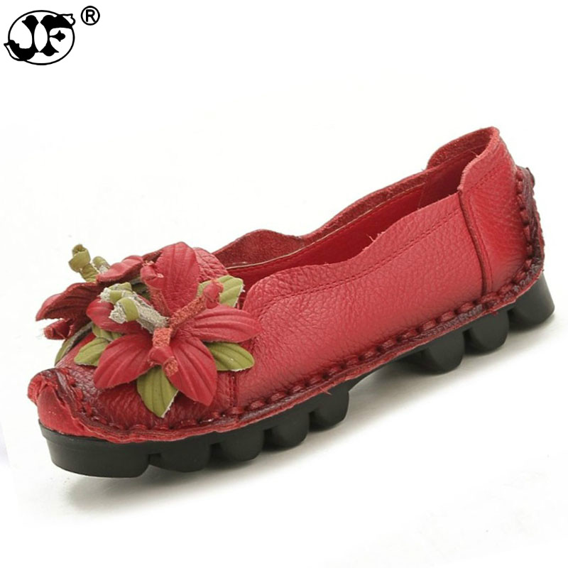 New spring Flowers Handmade Shoes Women's Floral Soft Flat Bottom Shoes Casual Sandals Folk Style Women Genuine Leather Shoes221