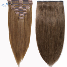 SEGO 16-22″ 90-110G Clip in Human Hair Extensions Seamless PU Tape and Clip in Non-Remy Brazilian Hair 8Pcs/set Pure Color