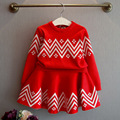 2016 autumn and spring version of the new girl girls striped knit sweater shirt + skirt suit 2pcs for baby clothes sets