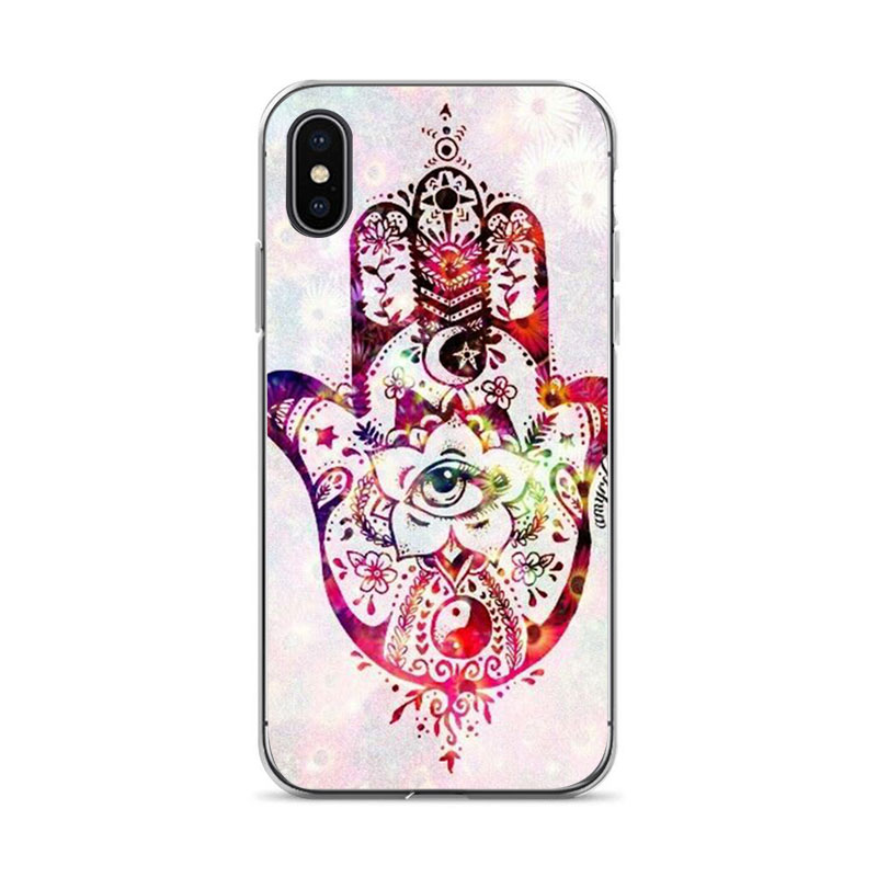Aiboduo Art hands Printed Scenery Phone Shell For iPhone X XS max XR 6 6plus 7 7plus 8 8plus 5 5S SE in Half wrapped Cases from Cellphones Telecommunications