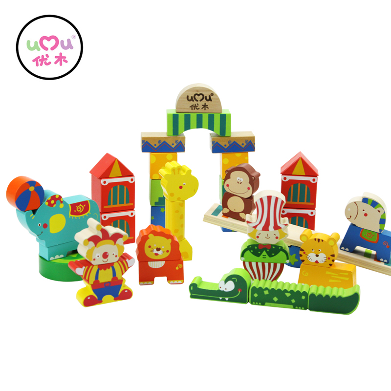 Animal Circus Blocks Wooden Toys For Children Baby Intelligence Building Wooden Children's Educational Toys UQ1468H 2017 hot sale forest animals children assembled diy wooden building blocks toys baby toy best gift for children ht2265
