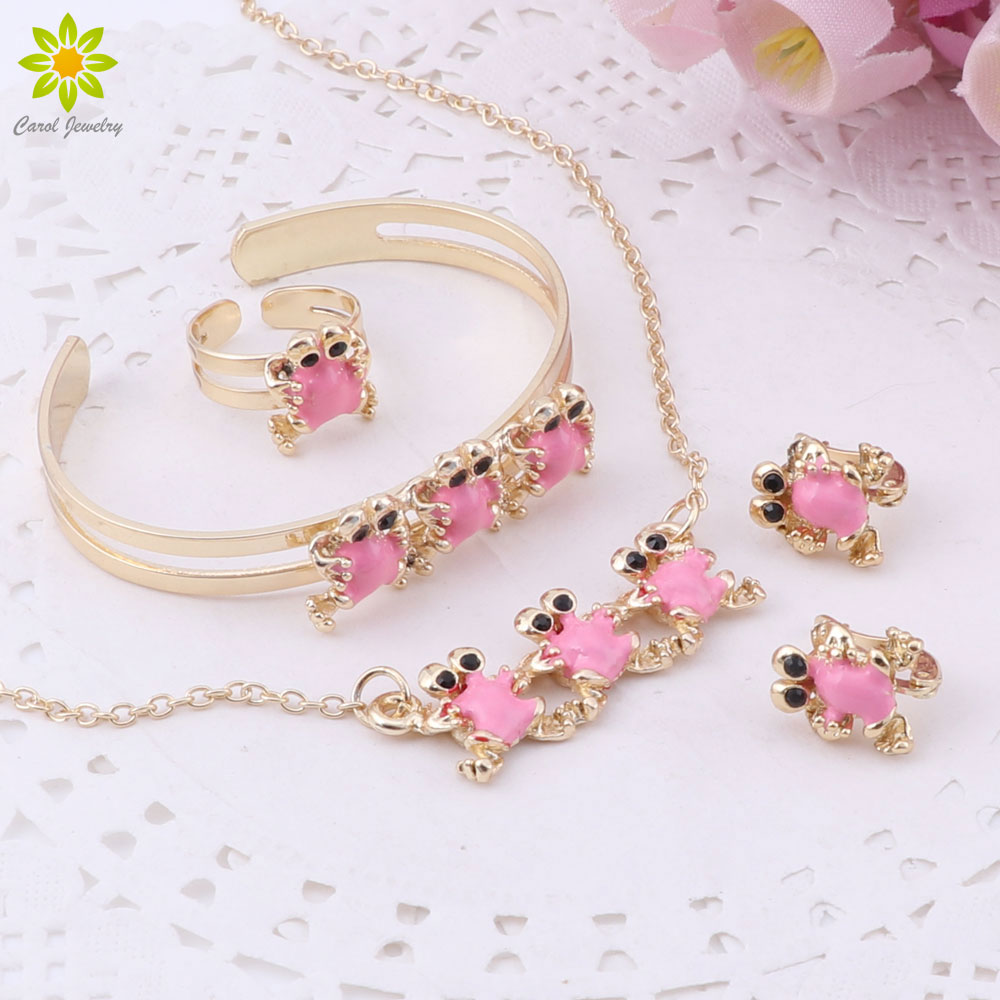 Chunky Necklace And Bracelet Set Light Pink //Gold Minnie Mouse Hair Bow