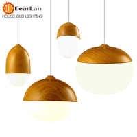 Lámpara colgante Vintage de grano de madera de hierro E27 portalámparas 110-240V vestíbulo/cafetería/comedor lámparas de dormitorio interior