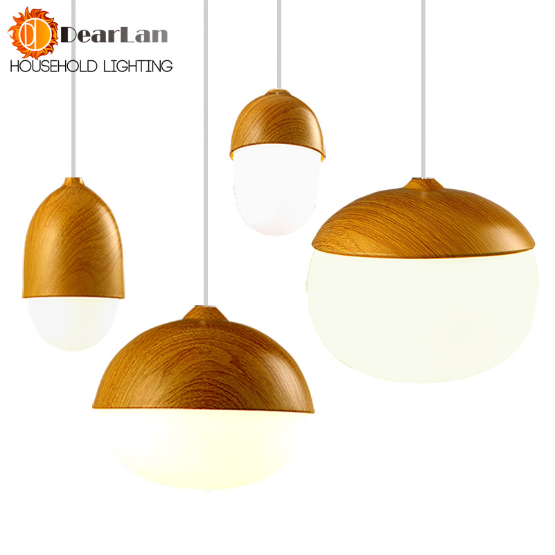 Vintage Iron Wood Grain Shop Pendant Lamp E27 Lamp Holder 110-240V Foyer/Coffee House/Dining Hall Indoor Bedroom Lightings