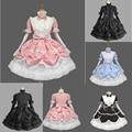 Mujeres largo con gradas acodado Victorian Gothic Lolita vestido de Halloween trajes de Cosplay para mujer Vintage vestido de bola del vestido Retro de encaje