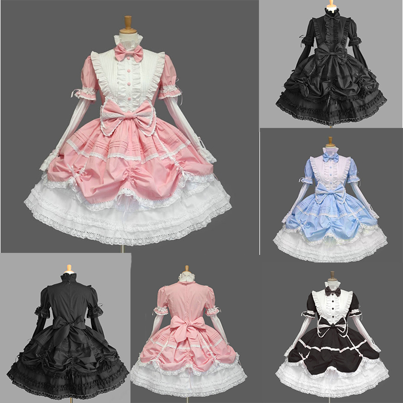 Ladies Black//Red Gothic Victorian Cos Hooded Ruffles Lolita Dress Cosplay