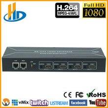 цена на MPEG-4 H.264 HDMI To IP Video Stream Encoder Live Streaming HD Video IPTV Encoder 4 Channels HDMI To HTTP RTSP RTMP Encoder H264