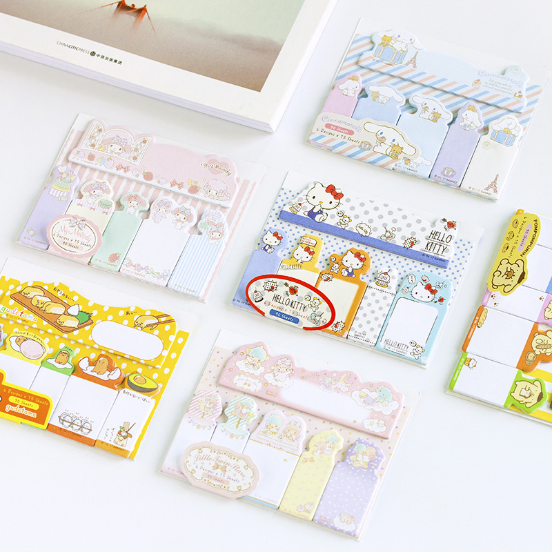 Cute Cartoon Hello Kitty Melody Cinnamoroll Self-Adhesive N Times Memo Pad Sticky Notes Bookmark School Office Supply