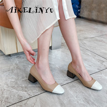 AIKELINYU 2019 Square Heel Pumps Slip-on Square Toe Leisure Fashion Mixed Colors Shoes New Genuine Leather Casual Women's Pumps vinlle 2017 woman pumps spring shoes mixed color square med heel slip on women shoes genuine leather wedding pumps size 34 39