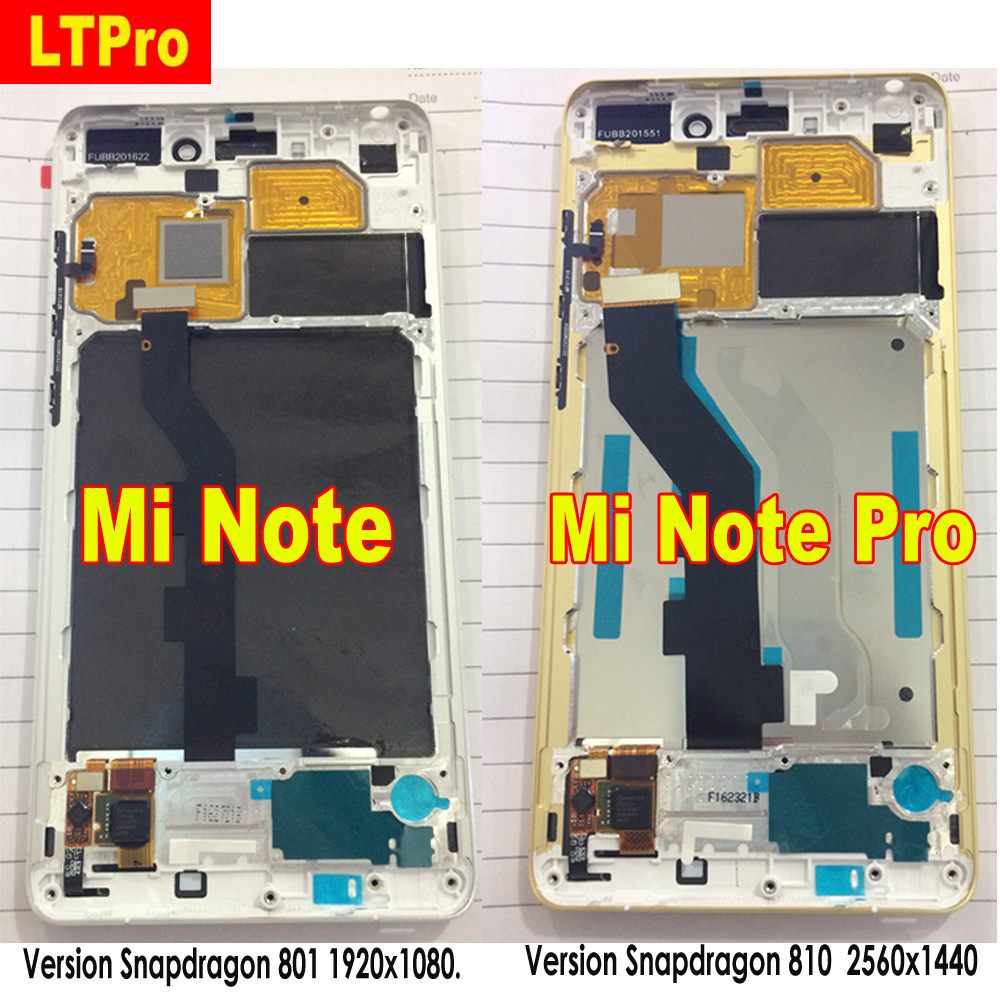 100% Original Best Mi Note Glass Sensor LCD Display 10 Touch Panel Screen Digitizer Assembly with Frame For Xiaomi Mi Note Pro