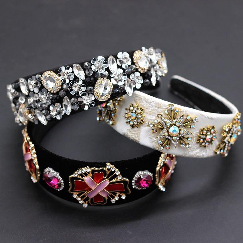 Baroque Fashion Reception Luxury Color Rhinestone Personality Headband  Colored Rhinestones Geometric Snowflake Headband 883