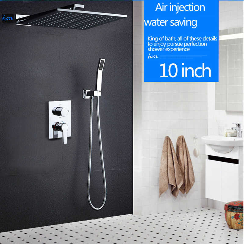 "hm 10"" Rainfall Shower Head System Polished Chrome Bath & Shower Faucet Bathroom Luxury Rain Mixer Shower Combo Set Wall Mounted"