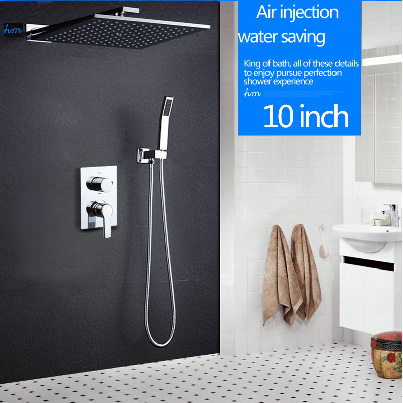 hm 10 Rainfall Shower Head System Polished Chrome Bath & Shower Faucet Bathroom Luxury Rain Mixer Shower Combo Set Wall Mounted