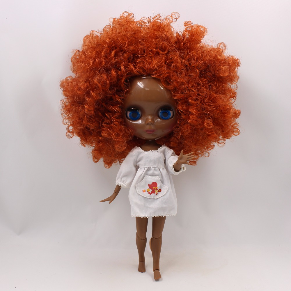 Neo Blythe Doll with Ginger Hair, Black skin, Shiny Face & Jointed Body 3