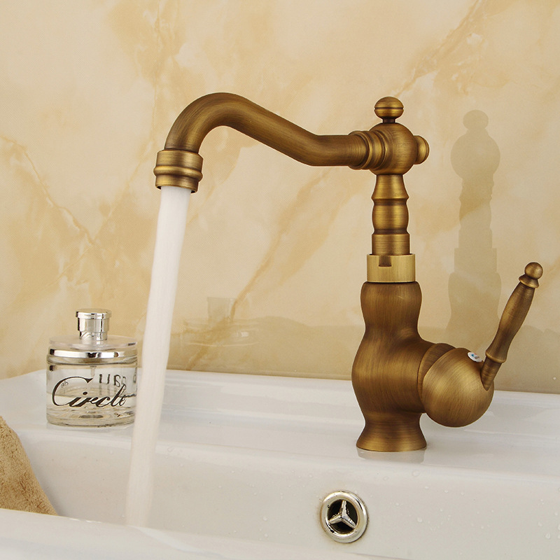 Kitchen Mixer Faucet Copper All European Retro Faucet Cross Kitchen Faucet Hot And Cold Tap