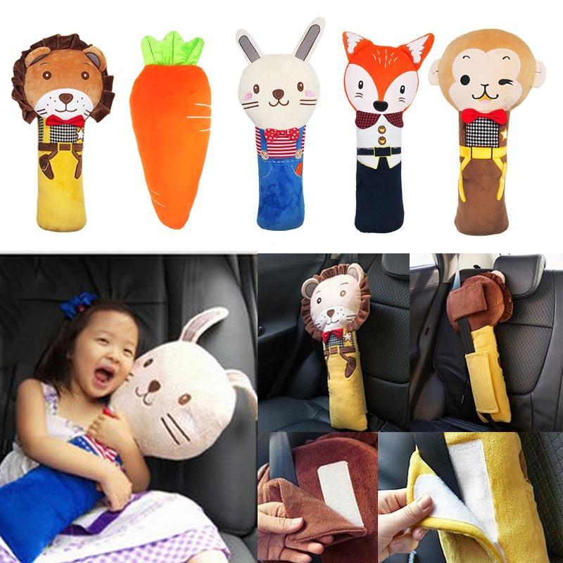 Kids Car Seat Belt Pillow Car Seat Belt Plush Cushion Children kids Vehicle Shoulder Pad Headrest 50*23CM