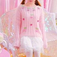 חורף ילדה יפני מתוק רך תלת ממדי שמלת סוודר גידור סוודר אנגורה דובדבן ותות שדה