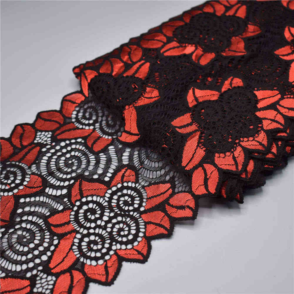 Mode 18CM brede Stretch Elastische kant lint Kant Trim geborduurde nigeriaanse afrikaanse kant stof Wit kantgarnituur voor naaien