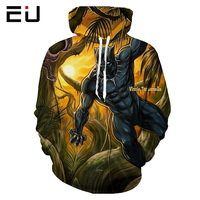 2018 Street Tracksuits 3D Hoodies Sweatshirts Panther Men Colorful Paint Skull 3D Print Pullovers Fashion Tops