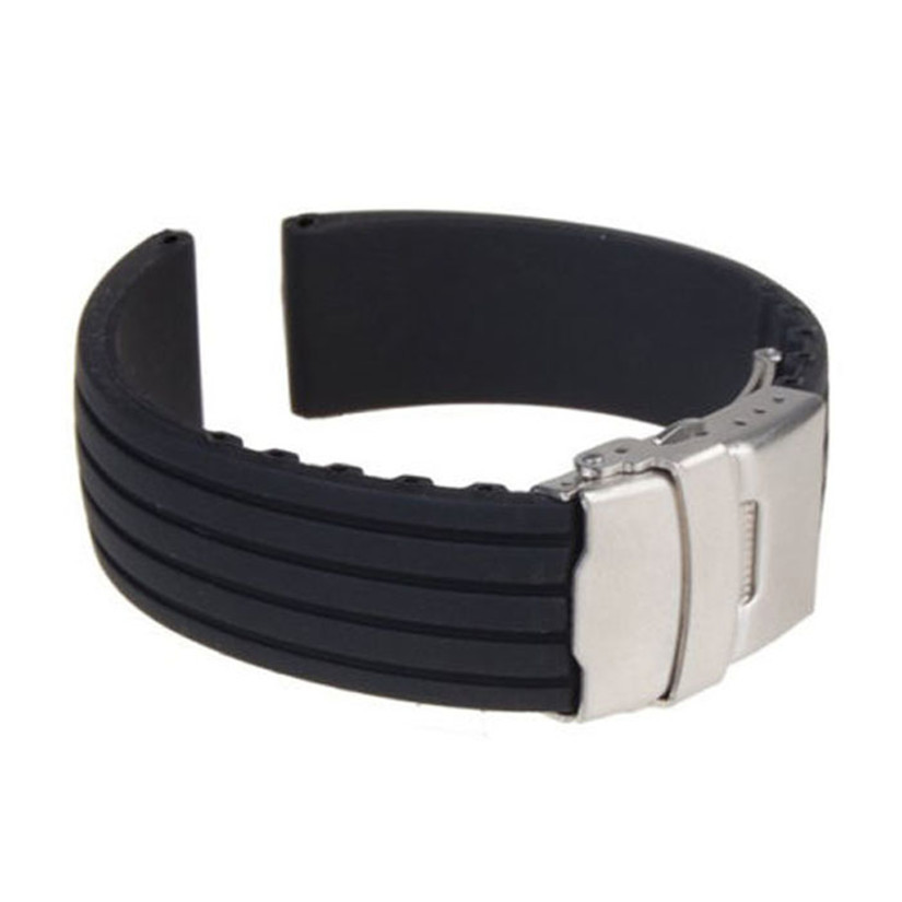 2015 New Hot Black Silicone Rubber Watch Band Strap Straight End Bracelet 18mm 20mm 22mm 24mm Waterproof Buckle Free Shipping