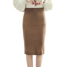 Sexy Solid Color Pencil Skirts Women Wool Knit Skirt Package Hip High Waist Skirt chic high waist solid color over hip skirt for women