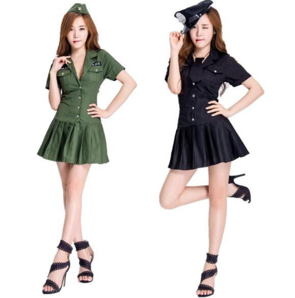 lady  Halloween Officer Policewomen Cosplay Fancy Dress Outfit Women Sexy Erotic Fetish Cop Police Costume short dresses A052