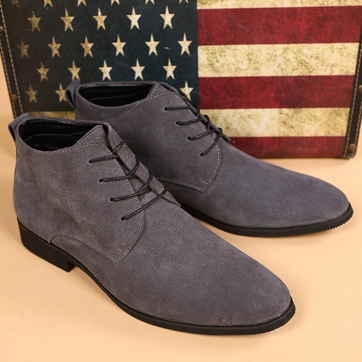 Chaussures Wyq11 Bottes Occasionnels Cuir marron Cheville Noir Xek Top Véritable Homme ardoisé Respirant Hommes Botas High En D'hiver q4zFx6U