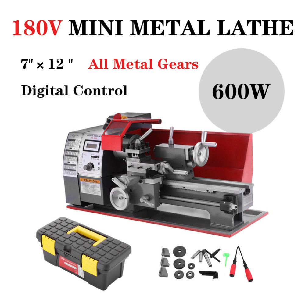 7X12 Mini Metal Turning Lathe machine Automatic Metal Wood Drilling 600W for Woodworking 24w all metal 24w metal wood turning lathe 20 000r min diy mini wood turning lathe