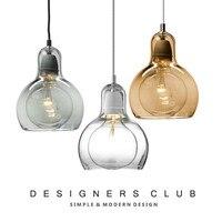 Nordic Big Bulb Glass Pendant Light For Amber Glass Lampshade Pendant Lamp Lighting Fixtures 110 240V