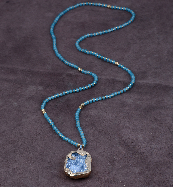 Exclusive Semi Precious Stones with Natural Druzy Pendant Necklace