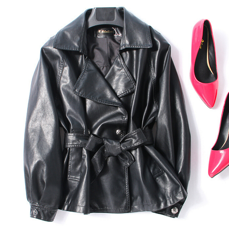 Peau Taille La Vintage Veste Nouveau En Plus Cuir 2018 100 Automne Femmes Rouge Véritable Noir De Vestes Noir Mouton rouge Femelle Manteau Lady F4IqO