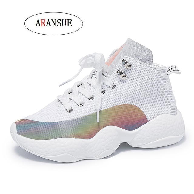 ARANSUE New flyknit breathable net surface Korean Edition fashion match light sneakers High street hip-hop socks shoes